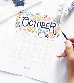 Free October calendar printable on the Archer and Olive blog. Just enter your email to download this freebie. #October2017 #planner #calendars