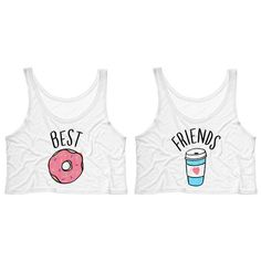 Best Friends Donut and Coffee Duo Crop Tank Top Shirt for Best Friend... (€13) ❤ liked on Polyvore featuring tops, shirts, crop top, tanks, tank tops, white, women's clothing, cropped tank top, boxy white shirt and crop tank