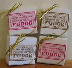 Fudge squares (try with Saran wrapped square with slip-on label.)