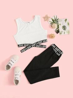 To find out about the Girls Letter Tape Crisscross Tank Top & Leggings Set at SHEIN, part of our latest Girls Two-piece Outfits ready to shop online today! Cute Lazy Outfits, Crop Top Outfits, Kids Outfits Girls, Teenager Outfits, Stylish Outfits, Legging Outfits, Girls Fashion Clothes, Teen Fashion Outfits, Mode Outfits