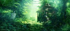 Anime / Manga Background Enchanted Forest Wood Leaves