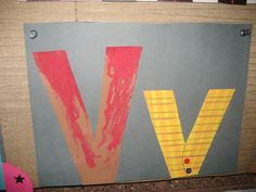 """""""Vv"""" Letter of the week art project: volcano & vest Letter V Crafts, Abc Crafts, Alphabet Crafts, Alphabet Book, Letter Art, Alphabet Sounds, Alphabet Phonics, Teaching The Alphabet, Learning Letters"""