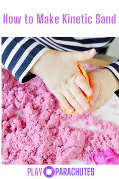 DIY kinetic sand has become all the rage in recent years as a less messy alternative to slime, and due to its sensory play benefits, it is more popular than ever. Learn how to make your own easily! Tactile Activities, Fine Motor Activities For Kids, Speech Therapy Activities, Spring Activities, Infant Activities, Children Activities, Family Activities, Sensory Tools, Sensory Bins