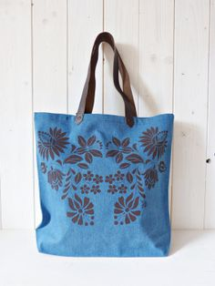 100 cotton screenprinted denim jeans tote bag with by FolkAffair, $45.00 Denim Tote Bags, Screen Printing, Denim Jeans, Reusable Tote Bags, Cotton, Diy, Collection, Do It Yourself, Bricolage