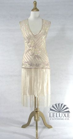 The Tango Cream Silver : Beaded Style Gowns, Art Deco Gowns, Flapper Fringe Dresses, Vintage Daywear, Hollywood Reproductions. from LeLuxe Clothing Beaded Flapper Dress, Beaded Gown, 20s Flapper, 1920s Dress, Wedding Dress Styles, Wedding Attire, Art Deco Clothing, 1920s Wedding, Wedding Ideas