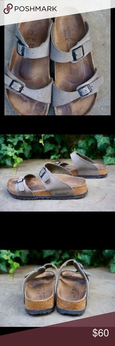 Betula by Birkenstock two strap buckles sandals L6 Betula by Birkenstock gray / tan leather two strap sandals size L6! Each strap features adjustable buckles. Overall good used condition with some minor marks and plenty of wear left! Birkenstock Shoes Sandals