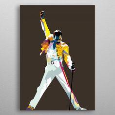 The Freddie Mercury metal poster Freddie Mercury, Print Artist, Cool Artwork, Poster Prints, Princess Zelda, Statue, Portrait, Business, Paintings