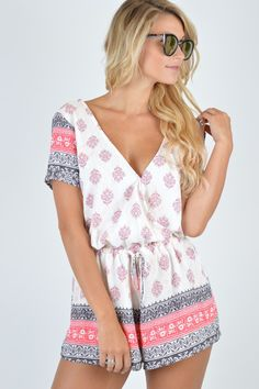 Quinn Printed Romper  | Foi Clothing Boutique | Short Sleeve Romper | Trendy and Unique | Must Have | Buy NOW on Foiclothing.com | Spring and Summer Fashion | Women's Boutique | Perfectly Patterned | Everyday Wear | Amazing for Any Occasion | Magic in Malibu | Foi's Summer 2016 Lookbook | Adjustable Tie Waist |