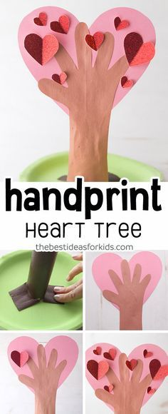 Heart Tree Heart Handprint Tree Craft - cute for Valentine's day or Mother's day! Easy craft for kids.Heart Handprint Tree Craft - cute for Valentine's day or Mother's day! Easy craft for kids. Valentine's Day Crafts For Kids, Valentine Crafts For Kids, Mothers Day Crafts, Toddler Crafts, Holiday Crafts, Valentines Art, Valentines Day Activities, Creative Crafts, Fun Crafts