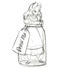 alice in bottle | Drink Me Alice in Wonderland Ornament - Product Image #2 - Sketch ...