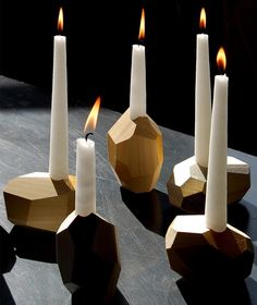 2 DORIT -  Gold, Decorative Wood Candle Holders #ModernThanksgiving