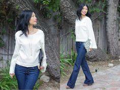 boxy blouse, 70s flared denim, suede platforms #70strend #springcapsulewardrobe