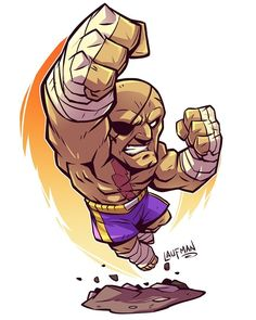 regram @dereklaufman Tiger!! Sagat is the only character I could ever win with in Street Fighter so I wanted him to be the first in my Street Fighter 2 series. I won't be selling any prints until I'm done a set of 4. Be patient because I have a backlog of characters I want to do:) If you want to grab my latest art book before they are gone visit dereklaufman.com(link in my profile)  #sagat #streetfighter #capcom #fighters #kickboxing #chibi #mangastudio #photoshop #cintiq #dereklaufman