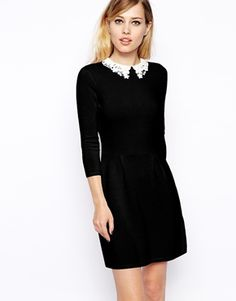 Enlarge ASOS Knitted Skater Dress With Lace Collar