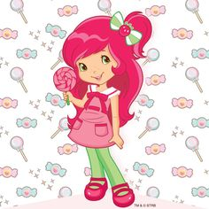 Strawberry Shortcake and her pink lollipop of candy and sweets Strawberry Shortcake Characters, Strawberry Shortcake Doll, Veggie Tales Party, Huckleberry Pie, Blue Berry Muffins, Coloring Book Pages, Pics Art, Betty Boop, Disney Frozen