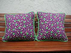 Throw Pillow Purple Fairies Trimmed in Lime Green by rrdesigns561