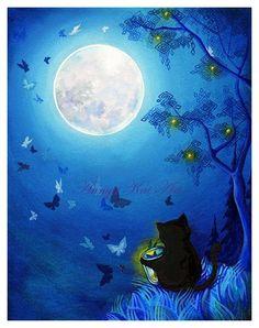 Papillons et fée lanternes - serein doux bleu Bed-Time lanterne & papillon paysage lunaire - giclée peinture imprimer