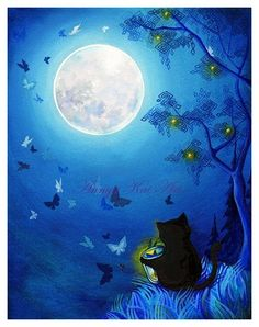 Butterflies and Fairy Lanterns - Serene Soft Blue Bed-Time Lantern & Butterfly Moonscape - Giclee Painting Print