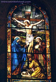 Crucifixion of Jesus depicted on stained glass window. Stained Glass Church, Stained Glass Art, Stained Glass Windows, Mosaic Glass, Catholic Art, Religious Art, Crucifixion Of Jesus, Religion, Church Windows