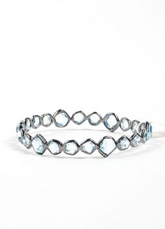 "Black Rhodium, Blue Topaz, and Diamond ""Mini Hero"" Bangle Bracelet"