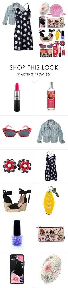 """""""Untitled #2842"""" by kitten89 ❤ liked on Polyvore featuring MAC Cosmetics, Retrò, Hollister Co., Miriam Haskell, Carve Designs, Raye, Three Potato Four and Casetify"""