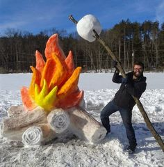 Giant fire and marshmallow snow sculpture by Schaffer Art Studio. To get the col. - Giant fire and marshmallow snow sculpture by Schaffer Art Studio. To get the color of the flames an - Snow Sculptures, Sculpture Art, Sculpture Ideas, Metal Sculptures, Abstract Sculpture, Bronze Sculpture, Ice Art, Winter Fun, Winter Storm