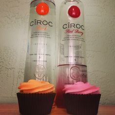 Ciroc Red Berry and Ciroc Peach liquor infused cupcakes