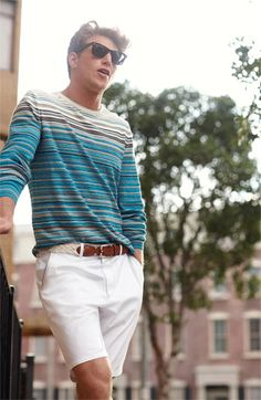 Great weekend look for a guy. BOSS Black sweater & shorts.