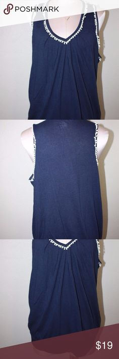 Gap V Neck Crochet Neckline Knit Blouse Shirt SzXL Up for sale Gap Women's V Neck Crochet Decoration Boho Peasant Sleeveless Knit Blouse Shirt   Size XL GAP Tops Blouses