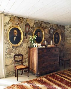 painted rustic stone wall