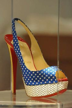 Christian Louboutin - Wonder Woman shoes - I need these for Super Hero Thursdays at work! Cute Shoes, Me Too Shoes, Wonder Woman Shoes, Cheap Christian Louboutin, Sexy Heels, Nude Heels, Pumps Heels, Crazy Shoes, Beautiful Shoes