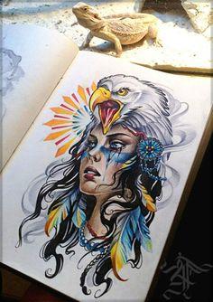 Tattoo Скво - tattoo's photo In the style Art, Gir God Tattoos, Warrior Tattoos, Skull Tattoos, Body Art Tattoos, Sleeve Tattoos, Female Tattoos, Tattoo Ink, Catrina Tattoo, Girl Face Tattoo