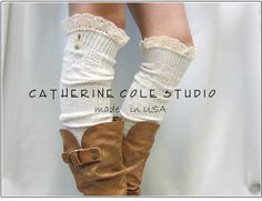 Swiss  LACE BOOT SOCKS ivory / European styling for your tall boots - over knee cable knit  womens Catherine Cole Studio / made in usa. $24.50, via Etsy.