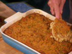 Southern Cornbread Stuffing from FoodNetwork.com I've made this before, but I use butter biscuits instead of white bread, and ritz crackers instead of saltines. I bake a box of jiffy and use that instead of the cornbread recipe. I also add chopped carrots along with the celery and onion. It always turns out great!