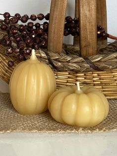 Beeswax Pumpkin Candle Set, Small Decorative Candles, Pumpkin Candle, Autumn Candle, Autumn Decor, Fall Decor Farmhouse