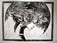 Linocut inspired by Karol Bak