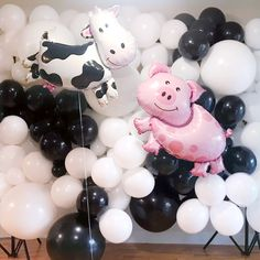 A DIY video tutorial for a cow inspired balloon wall backdrop for kid s farm themed birthday party Check out for more party ideas and farm themed party supplies Birthday Balloon Decorations, Birthday Party Decorations, Diy Birthday Backdrop, 1st Birthday Balloons, White Party Decorations, Baby Shower Balloons, Deco Ballon, Ballon Diy, Balloon Garland