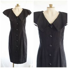 80s or 90s black sleeveless sheath dress with large collar from Liz Claiborne Petite NEW with tags SIZE 14 P by TimeTravelFashions on Etsy