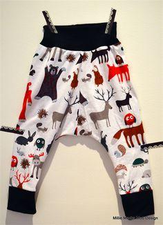 Woodland Scandinavian style Harem Pants with skinny leg size 2 or 3 years   Millie Macka Moo   madeit.com.au