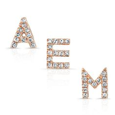 "14KT Rose Gold Diamond Initial Stud Earrings Each letter of the alphabet is sold separately Letters measure approximately 1/4"" in length  <br> Please not when placing an order for the initial stud earring, letters may take up to 6-8 weeks to arrive as we do not keep all 26 letters in stock at all times. <br>"