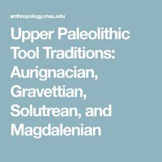 Upper Paleolithic Tool Traditions: Aurignacian, Gravettian, Solutrean, and Magdalenian