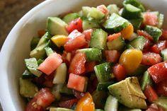 Tomat Cucumber and Avocado Salad Cucumber Avocado Salad, Avocado Salad Recipes, Avocado Dishes, Tasty Kitchen, Easy Salads, Big Salads, Recipe Details, Dessert, Summer Recipes