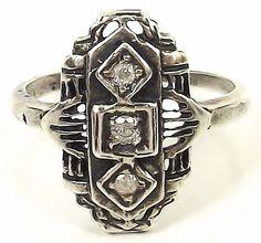 Antique STERLING SILVER Art Deco Filigree Mine Cut THREE DIAMOND Size 5 Ring $60