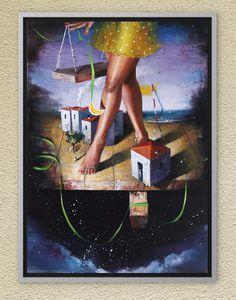 Innocence walks through Dremland. Oil on canvas. Oil On Canvas, Canvas Wall Art, Night Skies, Childhood Memories, Fairy Tales, Symbols, Sky, The Originals, Walks