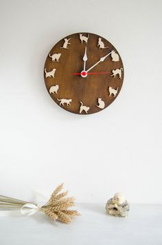 Cat clock wood wall clock gift for children and by MustHaveGift