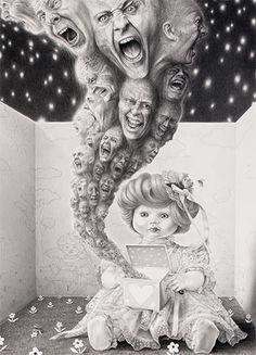 Laurie Lipton - Large scale drawings. Il suo insano modo di disegnare propone un mondo in continuo dialogo con la morte, la pazzia, la memoria e i fantasmi del passato.