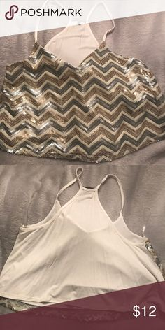 Gold + Silver Sequin Crop Top! ✨ Medium, adorable sparkly crop top! No tags but NEVER WORN. Bought it to wear on New Years but was too chilly of a day. Charlotte Russe Tops Crop Tops
