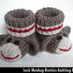 Sock Monkey Baby Booties Knitting Pattern