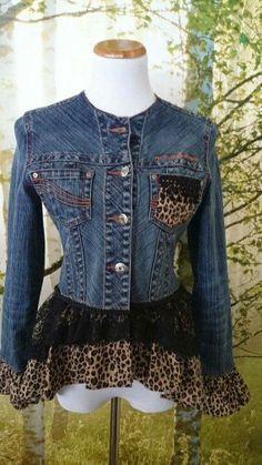 playful denim jacket, leopard print, lace, flirty, gypsy, upcycled, boho, hippie, street style