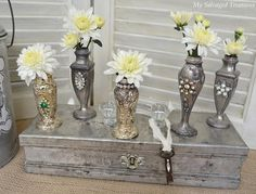 My Salvaged Treasures: Little Finds and Quick Projects...salt and pepper shakers made into vases